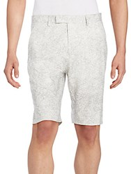 Helmut Lang Printed Stretch Cotton Shorts White Multi