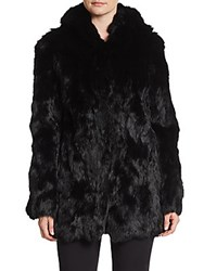 Adrienne Landau Hooded Long Sleeve Fur Jacket Black