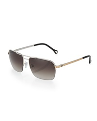 Ermenegildo Zegna Square Metal Aviator Sunglasses Smoke