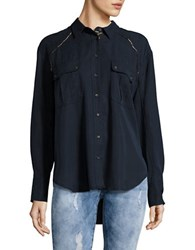 Free People Button Front Metallic Accented Top Blue