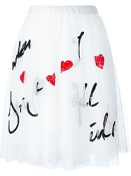 P.A.R.O.S.H. Sequin Embellished Tulle Skirt White