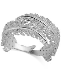 Lucky Brand Silver Plate Pave Leaf Statement Ring