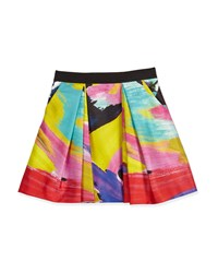 Milly Minis Ponte Brushstroke Pleated Skirt Multicolor