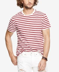 Denim And Supply Ralph Lauren Striped Crew Neck T Shirt White Red
