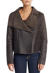 Elie Tahari Knit Paneled Shearling Jacket Brown