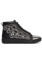 Rene Caovilla Crystal Embellished Cutout Leather Sneakers Black