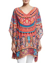 Tolani Camille V Neck Printed Tunic Orange Geo