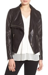 Trouve Women's Drape Front Leather Jacket