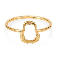Lee Renee Mini Shark Jawbone Ring Gold Vermeil