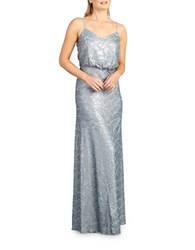 Donna Morgan Sequined Spaghetti Strap Gown Steel Blue