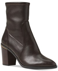 Michael Kors Chase Leather Booties Women's Shoes Dark Brown