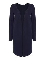 Oui Long Ribbed Cardigan Navy