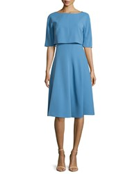 Lafayette 148 New York Julissa Layered Half Sleeve Dress Vista Blue