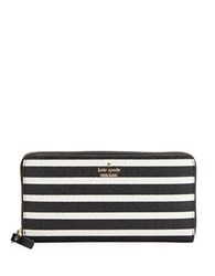 Kate Spade Striped Zip Around Wallet Black Multi