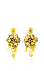 Ranjana Khan Yellow Flower Earrings With Vintage Coin Drops