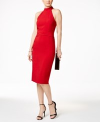 Jessica Simpson Mock Neck Halter Midi Dress Ruby Red