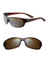 Maui Jim Twin Falls Rounded Polarized Rectangular Sunglasses Brown
