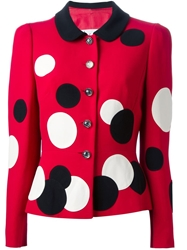 Moschino Vintage Polka Dot Skirt Suit Red