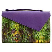 Marie Odile For Soltek Lautrec Clutch Royal Blue Leather And Printed Python Leather
