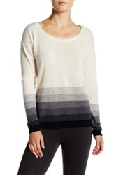 Three Dots Ombre Striped Cashmere Scoop Neck Sweater Gray