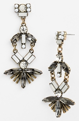 Robert Rose Fan Drop Earrings Crystal Brass Ox