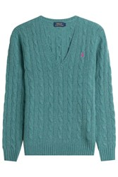 Polo Ralph Lauren Cable Knit Wool Pullover With Cashmere Turquoise