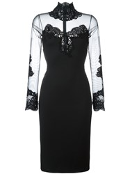 Ermanno Scervino Sheer Panel Fitted Dress Black