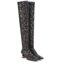 Roger Vivier Sequinned Over The Knee Boots Black