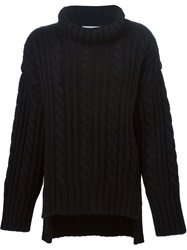 Viktor And Rolf Oversized Cable Knit Sweater Black