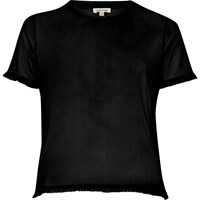 River Island Womens Black Mesh Frill Trim T Shirt