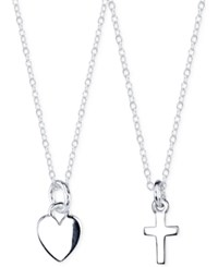 Unwritten Cross And Heart Pendant Necklace Set In Sterling Silver