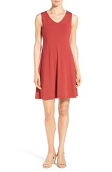Eileen Fisher Women's V Neck Jersey Fit And Flare Dress Red Saffron