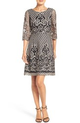 Eliza J Women's Bell Sleeve Fit And Flare Dress Black Taupe