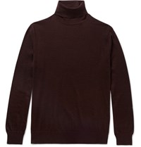 Ermenegildo Zegna Slim Fit Cashmere And Silk Blend Rollneck Sweater Burgundy