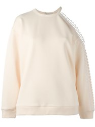 Christopher Kane Loop Detail Cold Shoulder Sweatshirt Nude And Neutrals