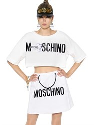 Moschino Cropped Printed Cotton Jersey Sweatshirt
