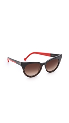 Preen Dutchess Sunglasses Black Marble Tort Red Brown