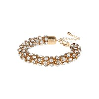 River Island Womens Gold Tone Gem Encrusted Rope Bracelet