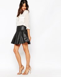 Helene Berman Full Mini Skirt In Black On Black Metallic Zebra Black