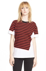 Marc By Marc Jacobs 'Jordyn' Stripe Surplus Cotton Tee Ruby Red Multi