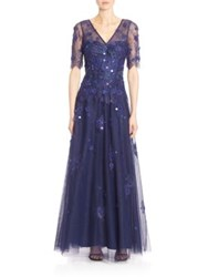 Teri Jon Embellished A Line Gown Royal Blue