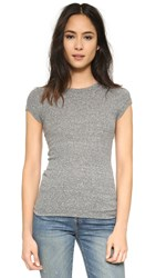Enza Costa Ribbed Cap Sleeve Tee Heather Grey