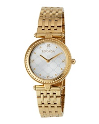 Escada Ion Gold Plated Stainless Steel Two Hand Vanessa Watch W Diamonds