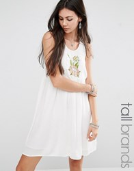 Glamorous Tall Sleeveless Dress With Floral Embroidery Cream