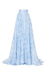 Luisa Beccaria Organza Fil Coupe Skirt Blue
