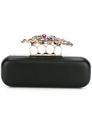 Alexander Mcqueen 'Floral Knuckle' Long Box Clutch Black