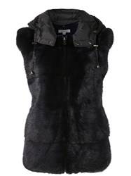 P.A.R.O.S.H. Hooded Mink Fur Gilet Black