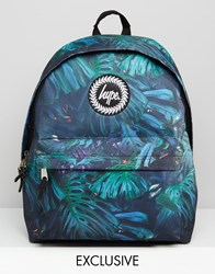 Hype Exclusive Backpack In Rain Forest Print Deep Amazon Green