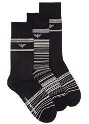Emporio Armani Black Striped Cotton Blend Socks