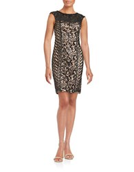 Sue Wong Sequined Illusion Sheath Dress Black Beige